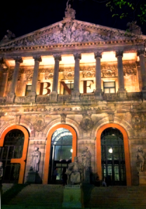 The Biblioteca Nacional by night.