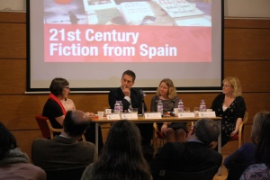 The panel of publishers and translators, L-R: Amanda Hopkinson (City University), Rowan Cope (Little, Brown; Abacus; Virago), Jorge Postigo (ICEX), Kirsty Dunseath (Orion Books), Jennifer Arnold (University of Birmingham).
