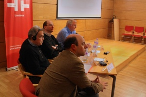 Fiction in Spain today: current trends. Julio Crespo MacLennan (Director, IC), Juan Angel Juaristo, Stuart Davis (Girton College, Cambridge), Peter Bush.